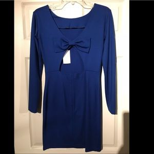 Cobalt long sleeve bow back dress